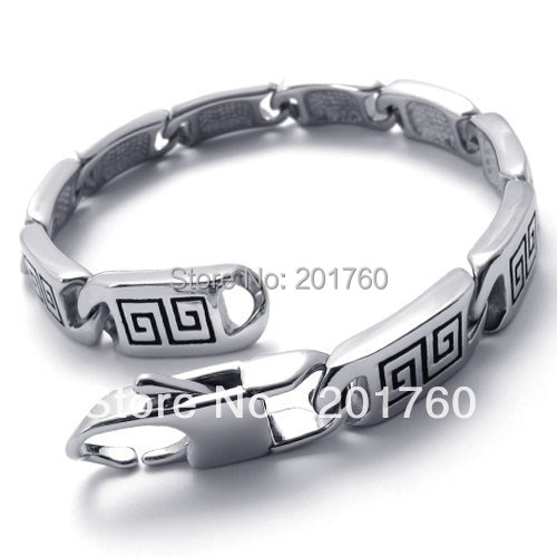Punk rock accessories Fashion stainless steel silver Great Wall bracelet free shipping 75358(China (Mainland))