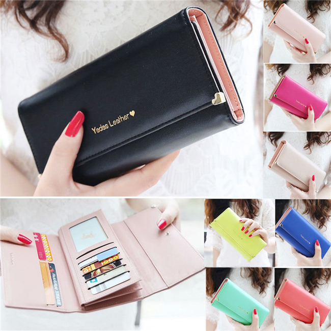 2015 HOT sale Fashion Lady Women popular Purse Long Wallet Bags PU Handbags Card Holder Birthday party for a Gift N682(China (Mainland))