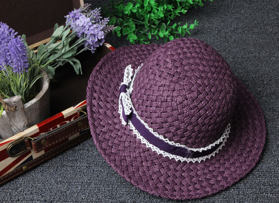 2016 New Fashion Spring Summer Girls Knitted White Lace Bow Straw Hat Sun Cap(China (Mainland))