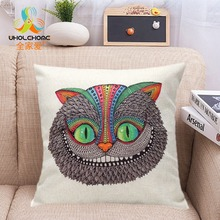 Cat Lens Linen Cushion Cover Pillow For Living Room