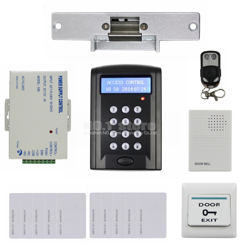Remote Control 125KHz RFID Reader Password Keypad Door Bell Access Control Security System Kit + Strike Lock BC200(China (Mainland))
