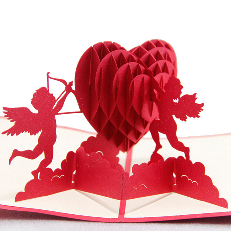 (5 pieces/lot)New Arrival 3d Sweet Handmade Decoupage Greeting Card Pop Up Card Valentine's Card for 3D Cupid Heart Card(China (Mainland))