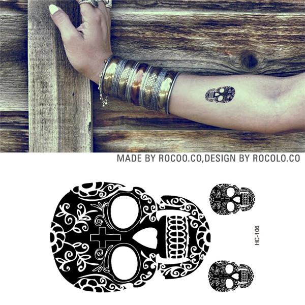 HC1106 Men And Women Sexy Arm Shoulder Chest Tattoo Art Skull Design Fake Tattoo Stickers Waterproof Temporary Tattoo Stickers(China (Mainland))