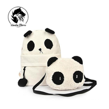 2016 Women Canvas Backpacks Cute Cartoon Panda School Bags For Teenagers Girls Rucksack Bagpack Schoolbags Mochila Feminina