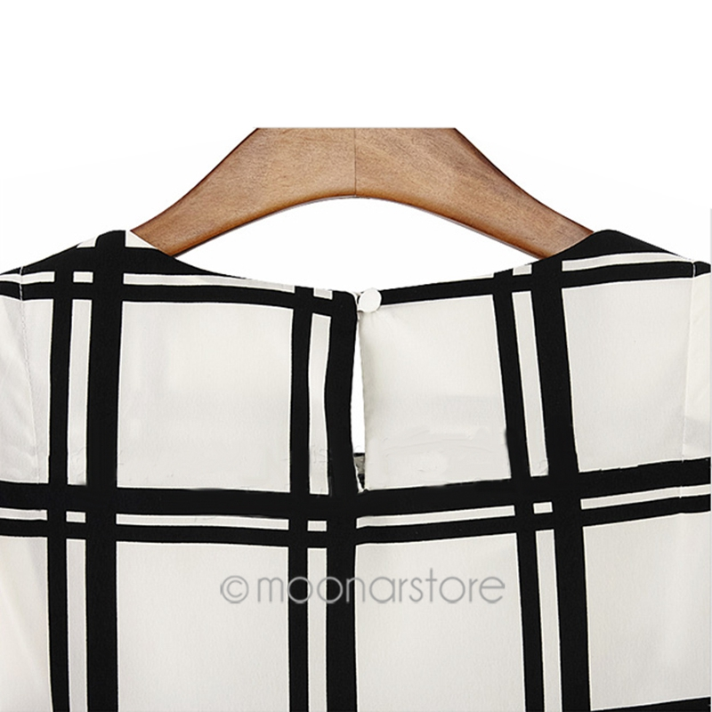 US/UK/DE Stock OL Style Black white grid printed shirts women ...