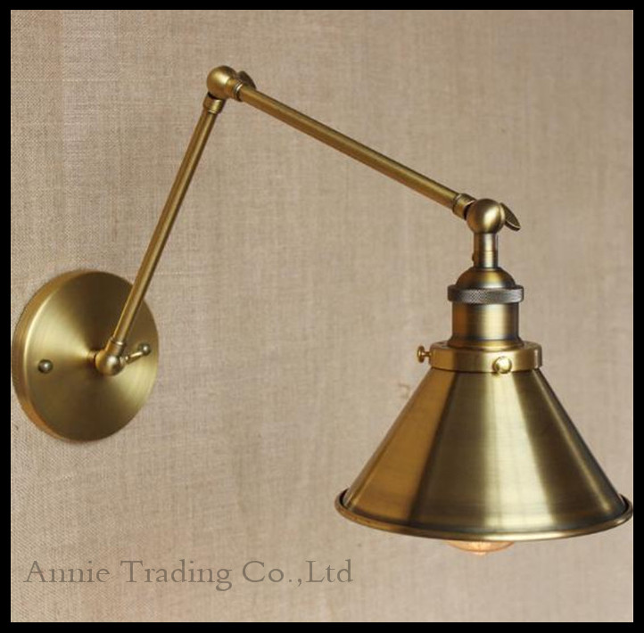 Style Decorative Wall Sconces Swing Arm Bedside Lamp Modern Brass Bronze plated Wall Light Fixtures metal lampshade(China (Mainland))