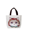 Lovely Print Canvas Large Shoulder Bag Wear resisting Smarty Cat Print Tote Women Hand held Bag