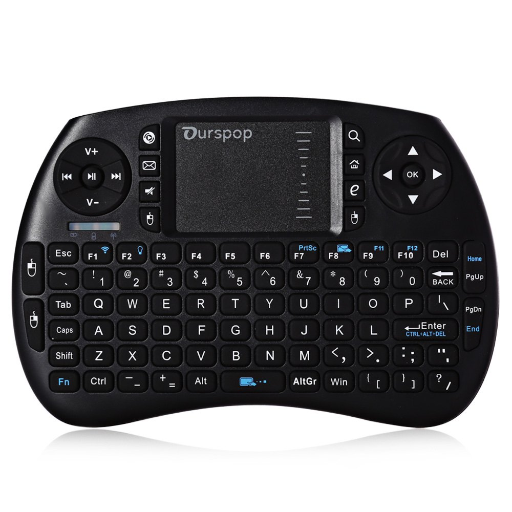 Portable OURSPOP R7 2.4G Mini Multi-Touch Wireless Ergonomic Keyboard Rechargeable Backlight 92 keys Air Gaming Mouse(China (Mainland))