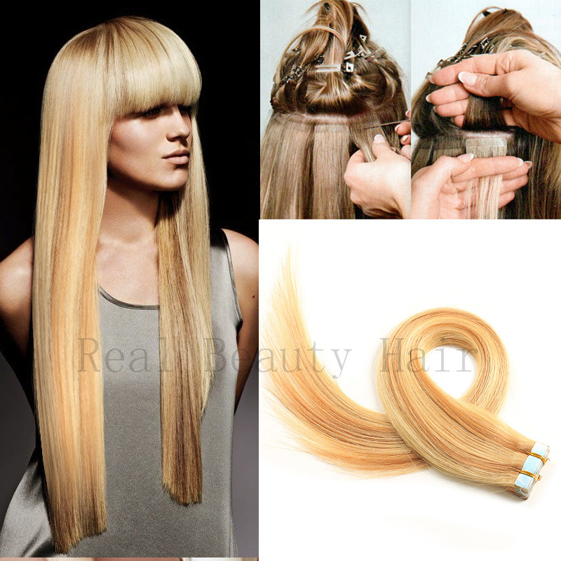 Tape In Remy Human Hair Extensions P4/613# Color Brazilian Virgin Hair Extensions 2 Sets Tape Hair Extensions Adhesive Products