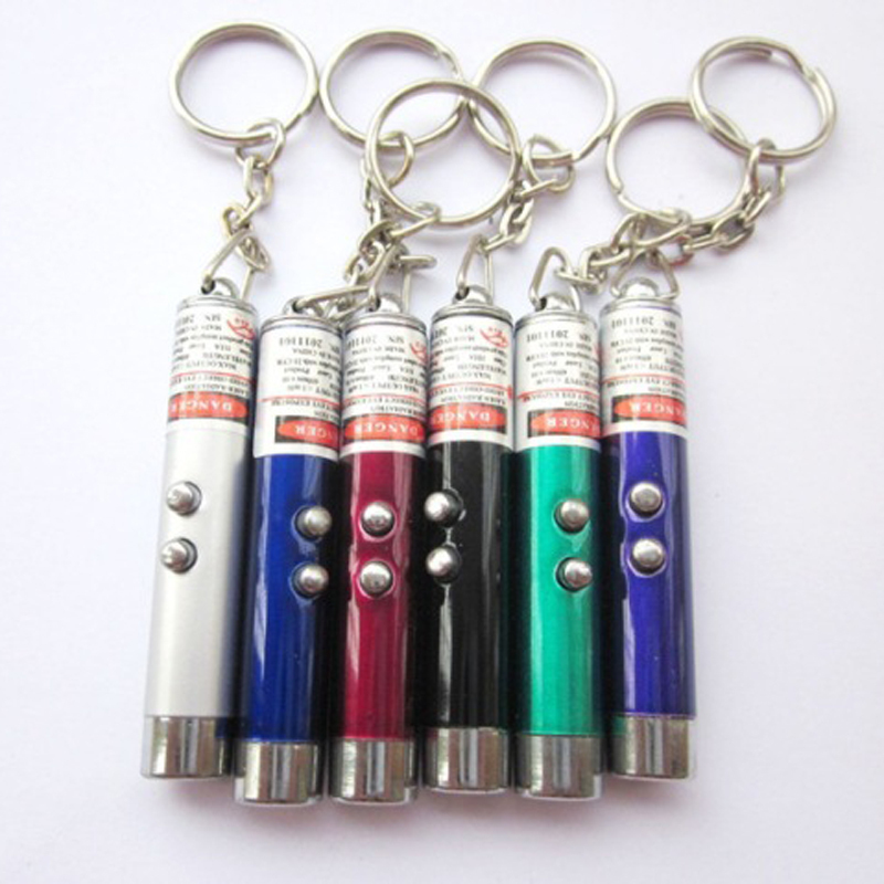 New Cool 2 In1 Red Laser Pointer Pen With White LED Light for Childrens Play Cat