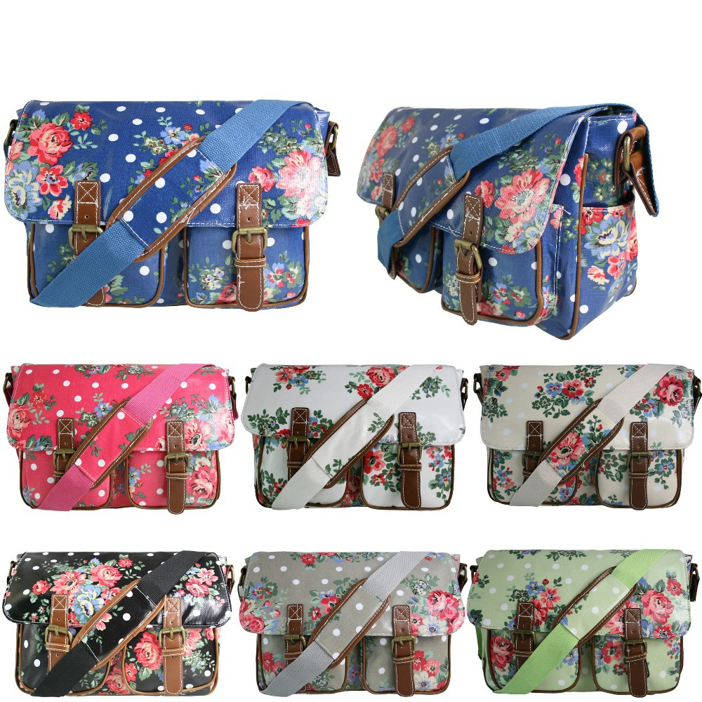 Wholesale Retail Women Girls Floral Flower Oilcloth Large A4 Book Pad School College Cross Body Satchel Messenger Bag(China (Mainland))