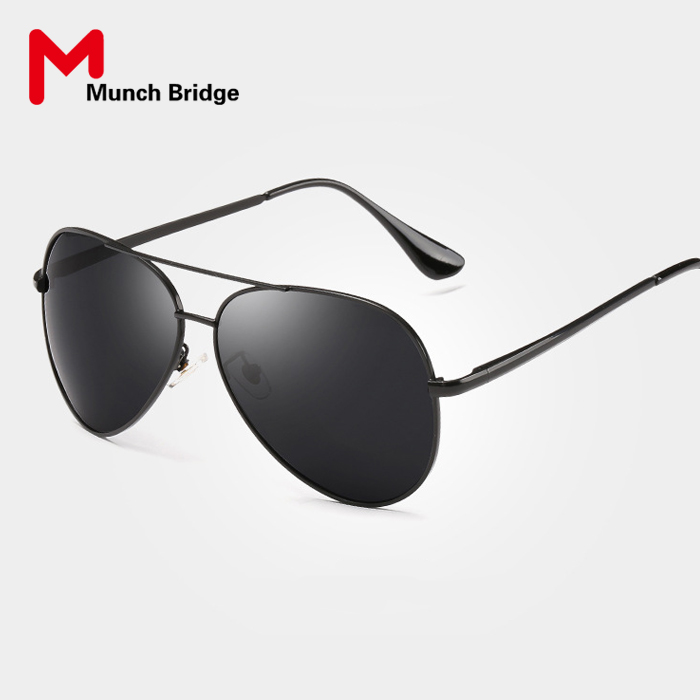 Classic Brand Designer Black Sunglasses Aviator Style UV400 Polarized Sunglasses for Men Driving Glasses Colored Lens Eyewear(China (Mainland))