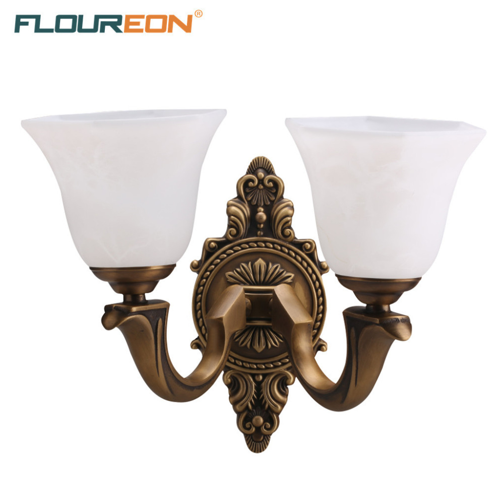 Floureon Brass 2-Light Wall Light, Euro Wall Lamp Solid Brass Construction Antique Brass Finished Glass Shade Decorative Light(China (Mainland))