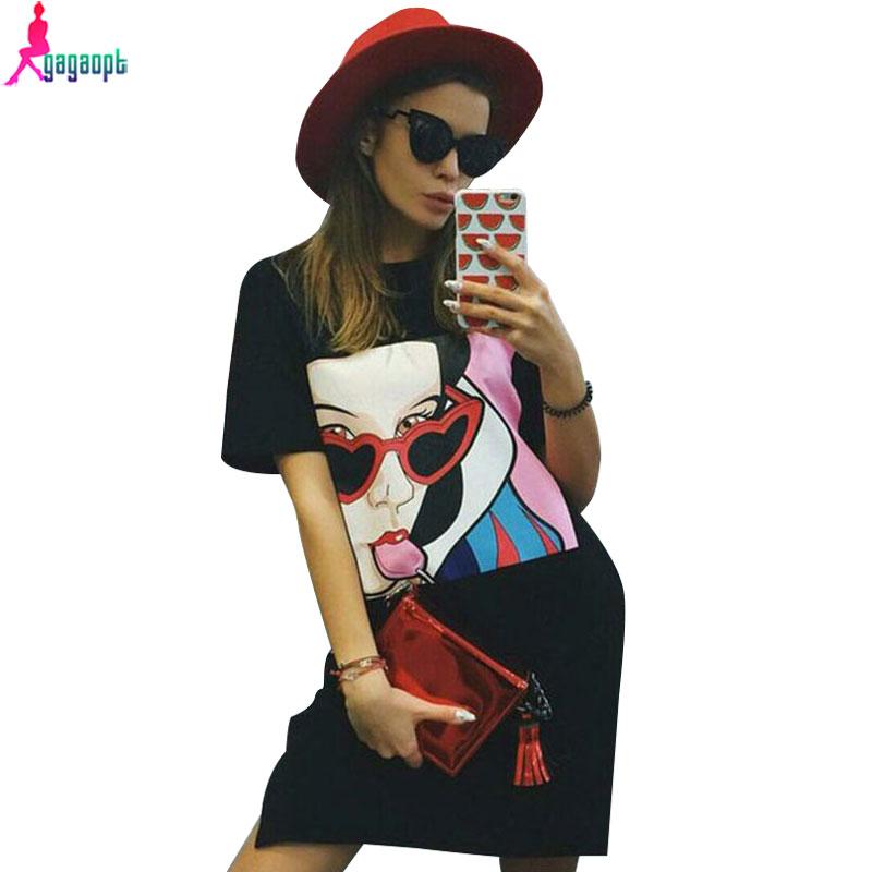 Gagaopt 2016 Candy Girl Summer Dress Straight T-shirt Dress Casual Women Dress Robe D0518(China (Mainland))