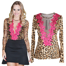 Women Lace Shirt Sexy Leopard Print Blouse Printed Stretchy Mesh Tops Slim Fit Floral Round O Neck Camisas Blusas Femininas(China (Mainland))