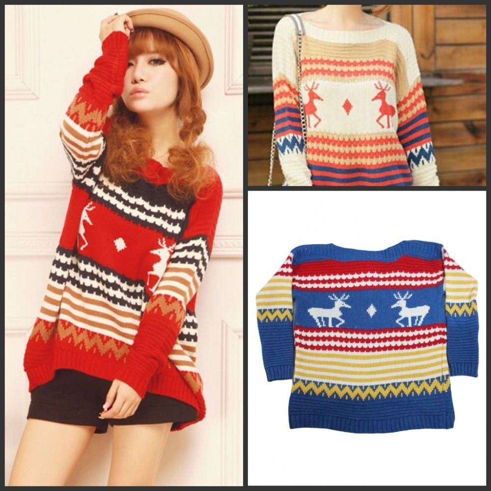 3 colors Autumn Winter Christmas Striped and Deer Winter Sweater O-neck Loose Long Sleeve Pullover For Women(China (Mainland))