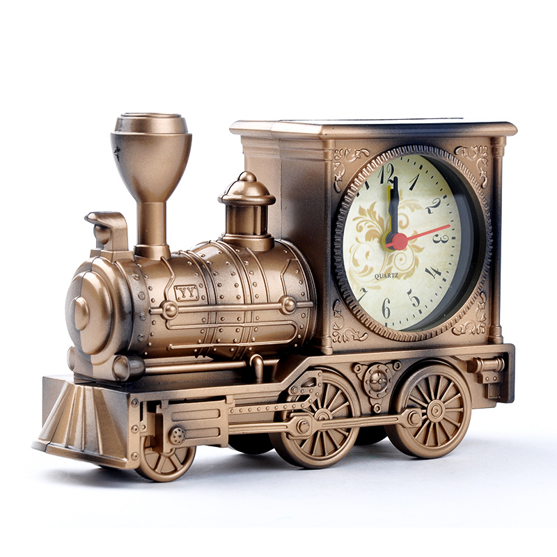 Simulation Steam Train Industrial Design Creative Vintage Locomotive Design Quartz Alarm Clock Gift For Children A5USJJ0352W(China (Mainland))