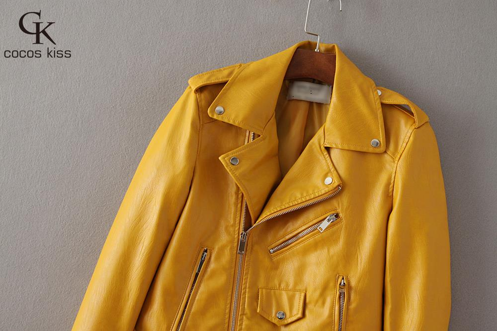 New arrival 2016 Brand casual Women Mustard Short Faux Leather Motorcycle Cropped Biker jackets Hem belted Zips details Epaulets