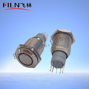 100pcs/lot 16mm white ring LED 24VDC flat round actuator stainless steel momentary  push button switch