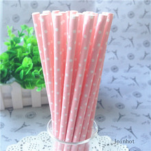 25pcs/lot Pink Point Dot Paper Drinking Straws Drinking Tubes Party Supplies Decoration Baby shower(China (Mainland))