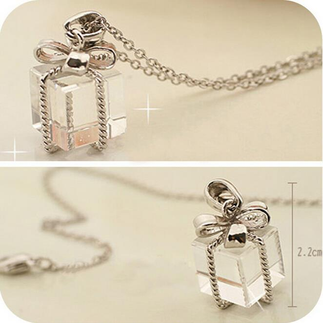 New Fashion Transparent Small Gift Box Bow Long Chain Pretty Necklace Sweater Clear Pendant Jewelry Gift(China (Mainland))