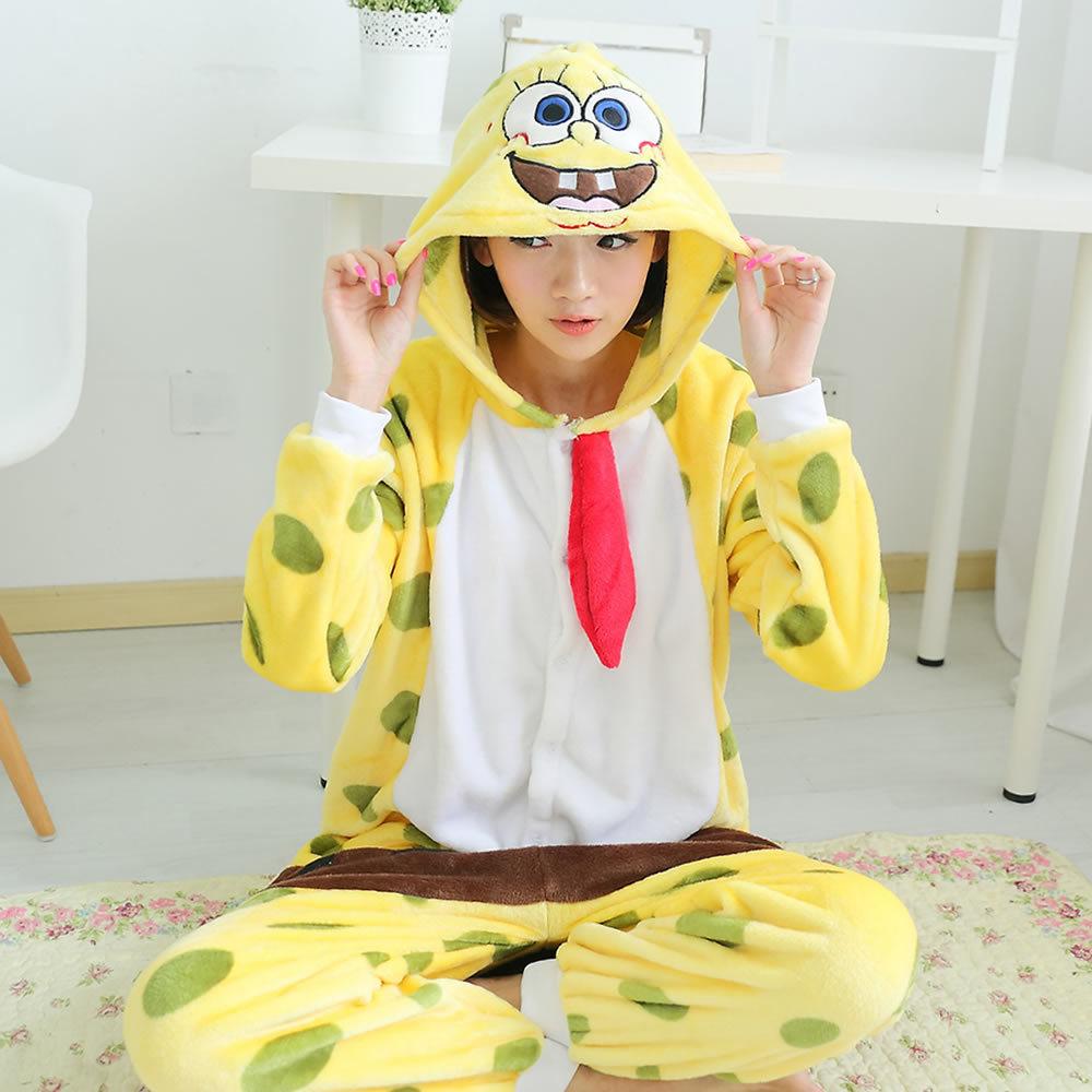 Губка боб фланелевую пижаму губка боб пижама для взрослых одна часть животных костюм миньон пижамы для женщин теплый pyjama роковой coton(China (Mainland))