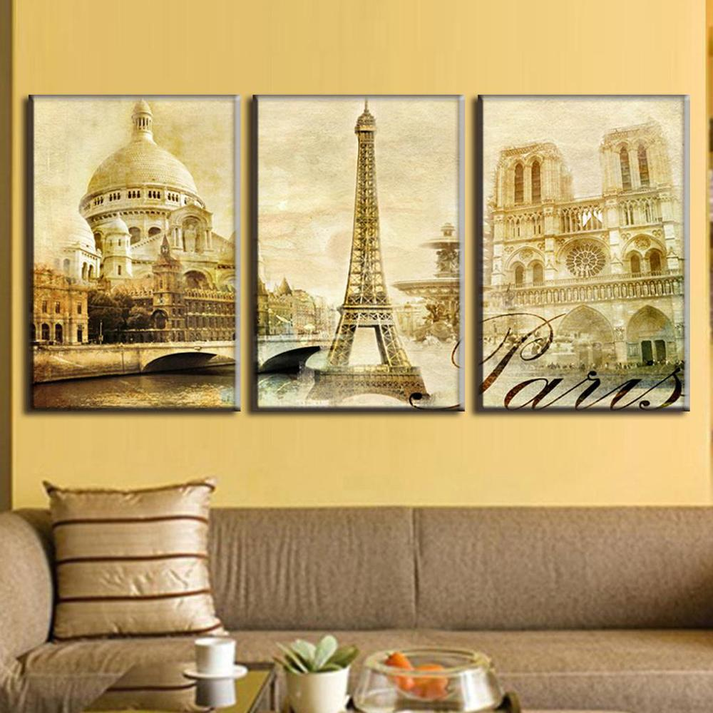 2016 3 Pcs/Set Framed Oil Painting On Canvas Scenic Spot Of Paris Canvas Print Landscape Canvas Wall Art Picture Wall Paintings(China (Mainland))