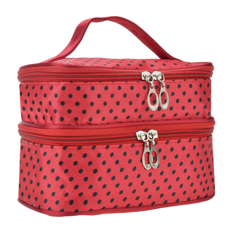 IMC Hot Womens Fashion Portable Toiletry Bag Dot Pattern Double Layer Makeup Bag Organizer red(China (Mainland))