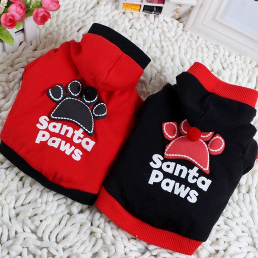 Top Pet Dog Fashion Santa Paws Clothes Pullover Warm Costumes T Shirt Puppy Coat YRD(Hong Kong)