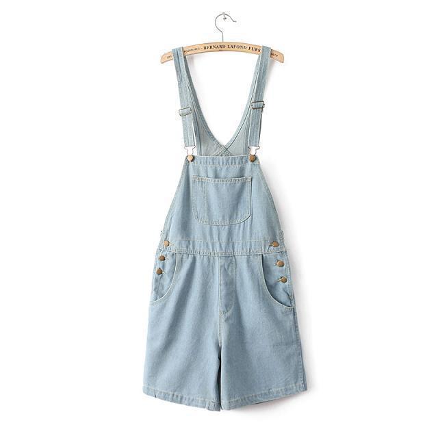 Горячие продажи Сплошной цвет высокой талии шорты джинсовые комбинезон для девочек ...