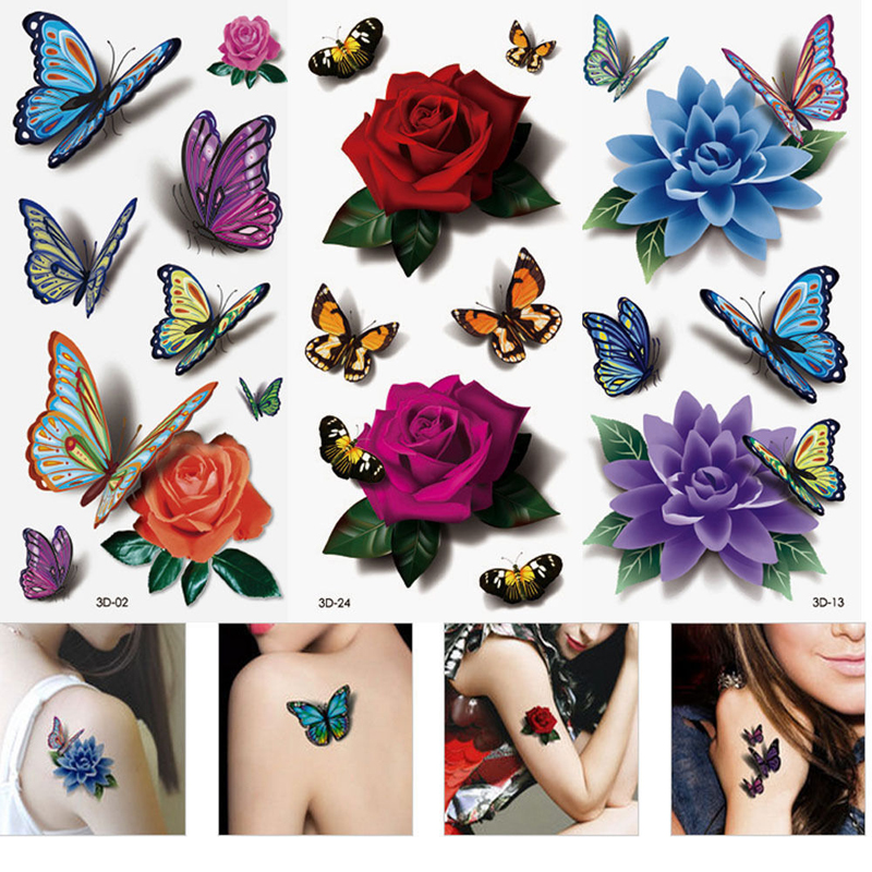 3Pcs Women 3D Temporary Tattoos Flower Rose Waterproof Fake Tattoo Stickers On The Hand Beauty Makeup Tattoo Sleeve Sex Products(China (Mainland))