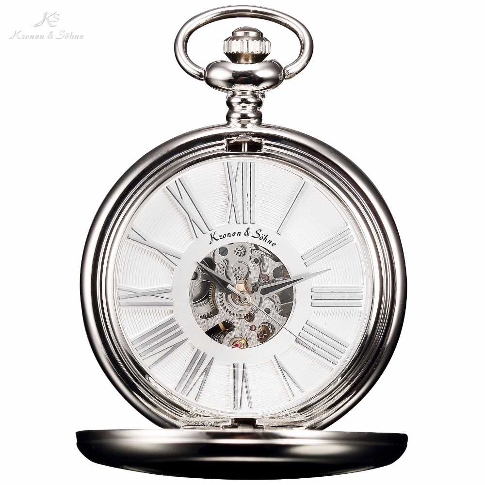 KS Vintage White Skeleton Rome Numbers Dial Silver Case Hand Wind Male Necklace Clock Analog Men Mechanical Pocket Watch /KSP036(China (Mainland))