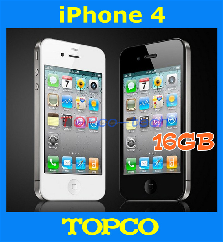 """Iphone 4 Factory Unlocked Original 16GB Mobile Phone GSM WIFI GPS 3.5"""" 5MP Black&White in sealed box dropshipping(China (Mainland))"""