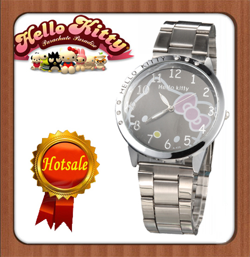 Nice Hello Kitty  Lady's Wrist Watch Indicate Time Quartz Dial Diamond Stainless Steel Band