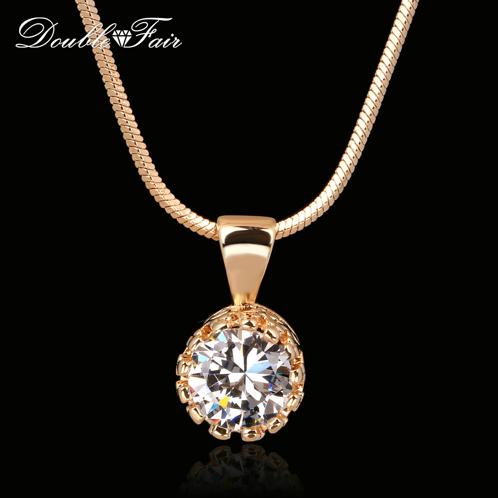 Double Fair Brand Unique Crown Cubic Zirconia Necklaces &Pendants Silver/Rose Gold Plated Chain Fashion Jewelry For Women DFN390(China (Mainland))
