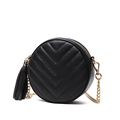 Small Circular Bag Women 2016 New Trendy Casual Chain Bag Tassels Plaid Shoulder Bag Ladies Japan
