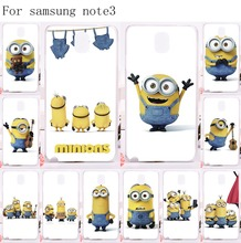 Cute Big Eyes Minions Cell Phone Cases For Samsung Galaxy Note III 3 Note3 Case Specially Design Luxury Hard Plastic Phone Skin(China (Mainland))