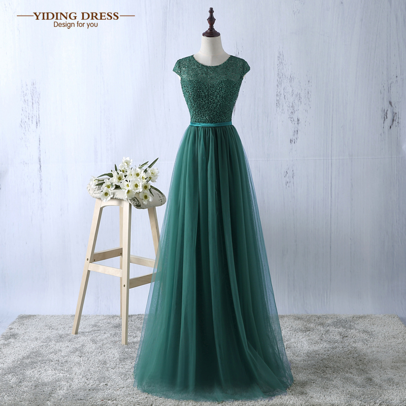 Green Evening Dress 2017 New Arrive Lace Tulle A-line Formal Longo Robe De Soiree Party Dress(China (Mainland))