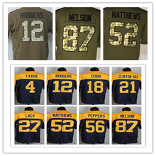 #12 Aaron Rodgers jersey elite #27 Eddie Lacy jersey 100% Stitched #87 Jordy Nelson #18 Randall Cobb #52 Clay Matthews jersey(China (Mainland))