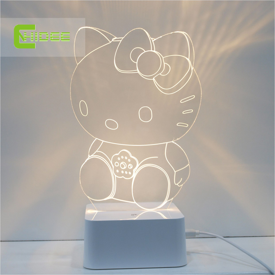 2015 CNHidee New design crystal lampe novelty Art Desk Lamp 3d For Hello Kitty Led book night light Touch Decorative Talbe Lamp(China (Mainland))