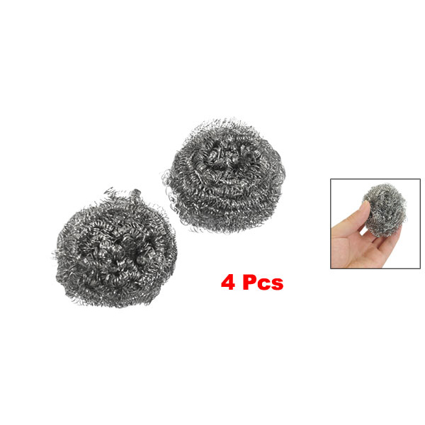 WSFS Hot Sale Kitchen Dish Pot Cleaning Steel Wire Spiral Scourer Ball 4 pcs(China (Mainland))