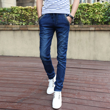 2016 new men's jeans Fashion elastic waist micro-bomb pants feet Slim large size men's casual denim trousers trend 36 38(China (Mainland))