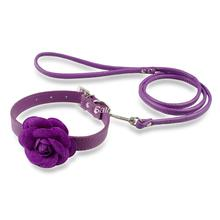 Cute Pink Puppy Dog/Cat Flower Leather Collar & Leash Set