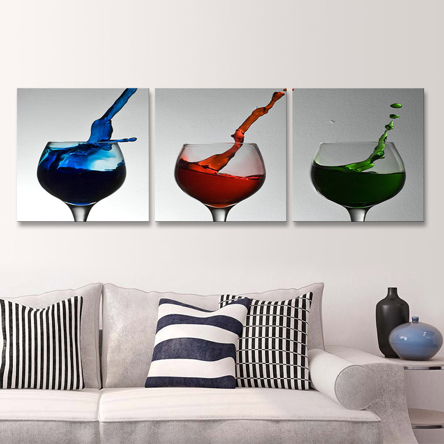 3 panels oil painting Free Shipping home deco Modern cup juice ice kitchen Home Decorative Art Picture Paint on Canvas Prints