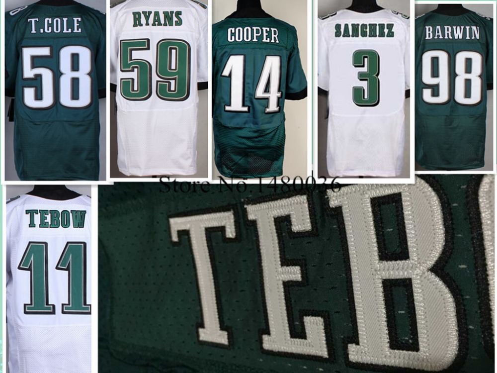 Philadelphia #11 tim tebow jersey 100% Stitched Elite #14 Riley Cooper jersey Authentic T.cole 58 Midnight Green Size 60 M XXXXL(China (Mainland))