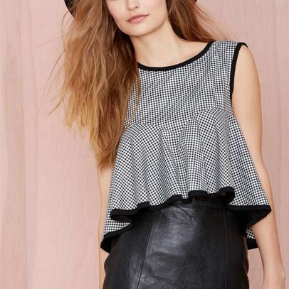 WT02 New Fashion Ladies' elegant plaid print pleated short blouses vintage sweet O neck sleeveless shirts casual slim brand top(China (Mainland))