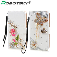 Luxury Rhinestone Crystal rose flower Wallet Bling Case Cover Diamond Cover Phone case for iphone 5 5s 6 6plus(China (Mainland))