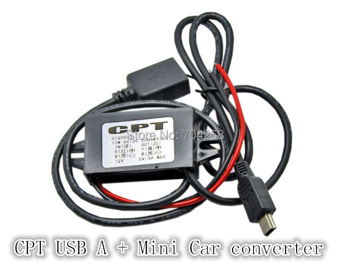 CPT DC/DC 12V to 3V car Converter step down 3A Dual Female USB A prot to mini Car Charge(China (Mainland))