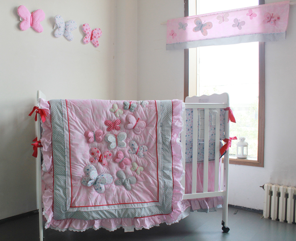 Pink Butterfly Pattern Girl Baby Bedding Lovely Cotton ...