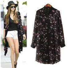 2015 summer new long section printed chiffon blouse large size shirt Ladies blouse Women Kimono cardigan 4 Size